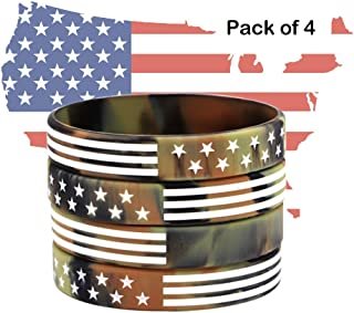 AVEC JOIE USA Rubber Wristbands Silicone Bracelet with American Flag in Black and Army Green for American Patriots, Army and Sport Fans