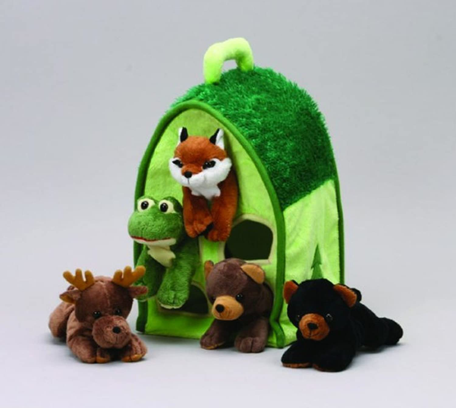Plush Forest Animal House with Animals - Five (5) Stuffed Forest Animals ( braun Bear, schwarz Bear, Moose, Frog, Fox) in Play Forest Carrying House by Unipak