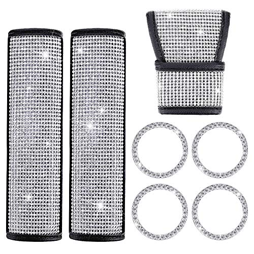 Crystal Diamond Car Accessories, Include Bling Car Gear Shift Cover Auto Shift Gear Cover, 2 Pieces Crystal Diamond Car Seat Belt Covers and 4 Pieces Car Sticker Ring Emblem for Car Decorations