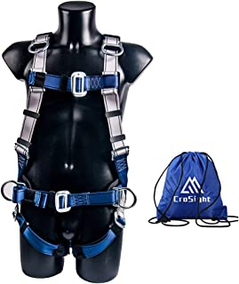 Full Body Fall Arrest Safety Harness for Construction (130-400 pound) with 5 D-Ring & Waist belt CE Compliant, Tower Roofing Tool (Blue)