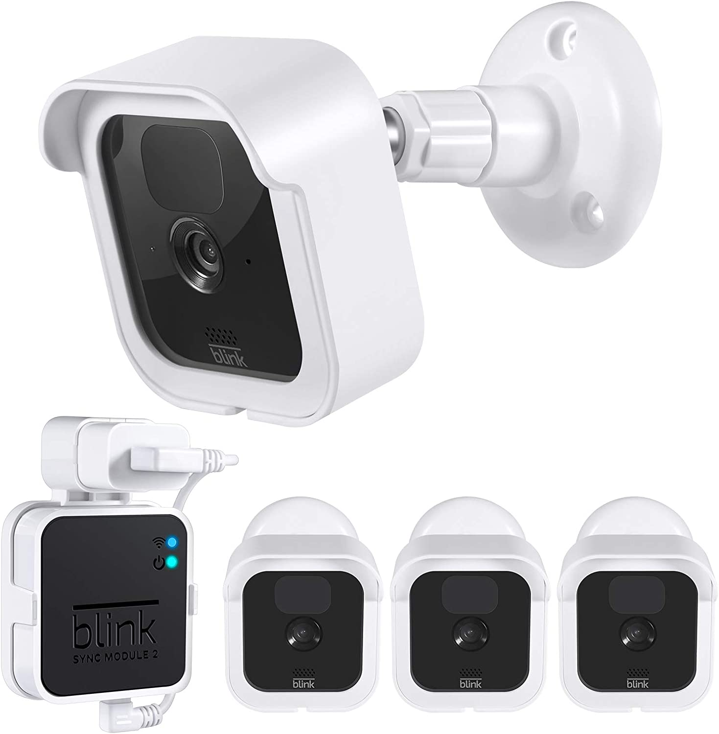 Aotnex Weatherproof Protective Housing Cover with Blink Sync Module 2 Outlet Mount for Blink Outdoor Indoor Home Security Camera System Wall Mounts compatible with Blink Outdoor Camera 3 Pack,White