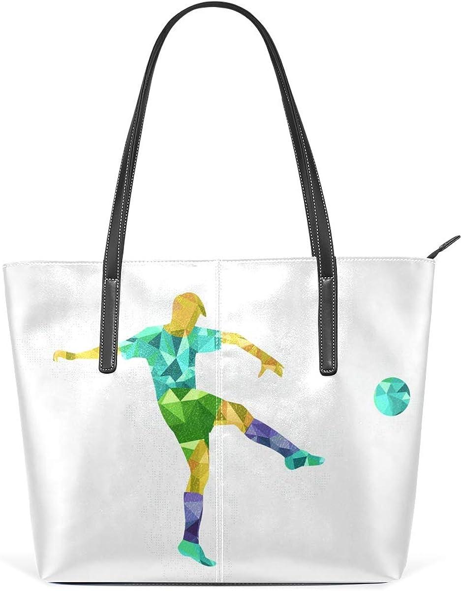 Soccer Player Geometry Atlanta Mall PU Leather Tote Alternative dealer Bag High-capac Women for
