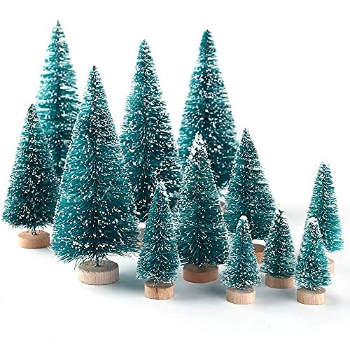 M I A Mini árboles de Navidad 34 piezas de sisal artificial nieve escarcha árboles de Navidad con bases de madera de Navidad de mesa, adornos para manualidades, decoración del hogar
