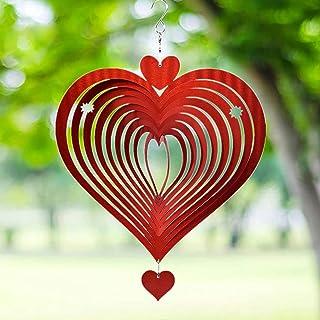 Wind Chimes, Spinner Kinetic Hanging Décorations Avec De Forme De Coeur Jardin Sculpture Rouge
