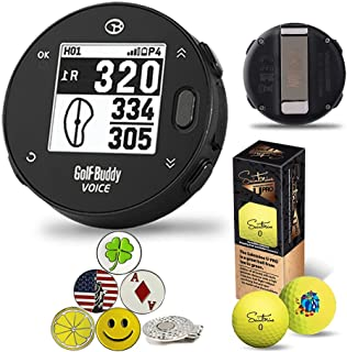 GolfBuddy VoiceX Black Bundle with 1 Magnetic Hat Clip and 5 Ball Markers and Saintnine 2 Ball & Auto Course Update via Bl...