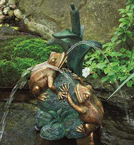 Aquascape Double Frog with Cattail Spitter Fountain with Pump for Pond, Container Water Garden, and...