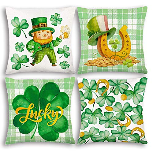 Glaring St Patricks Day Decorations Cotton Linen Pillow Covers18'x18'Set of 4 for Irish Colored Printed Pillow Cover Fashion Fluffy Soft Square Cushion Covers Home Decoration
