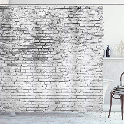 JoneAJ Gefärbte Ziegel Wand Ziegel Muster importiert Polyestergewebe Regenmantel wasserdichte Technologie Duschvorhang 71x71 Zoll Anti-transparent leicht mit 12 Kunststoffhaken zu reinigen