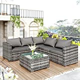 MOWIN <span class='highlight'>Rattan</span> <span class='highlight'>Garden</span> Corner Sofa <span class='highlight'>Set</span> 5 Seater <span class='highlight'>Rattan</span> Sofa Outdoor Conservatory Patio <span class='highlight'>Furniture</span> <span class='highlight'>Set</span>, 4 Piece Lounge Seating <span class='highlight'>Set</span> with Coffee table, Seat and Back Cushions, Grey