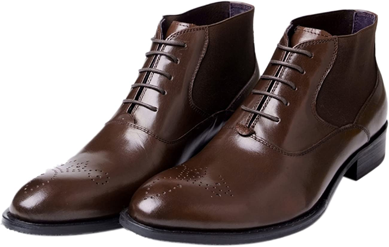 Santimon Mens Boots Lace-up Chelsea Boots Ankle Boots Beatle Genuine Leather Dress Oxfords