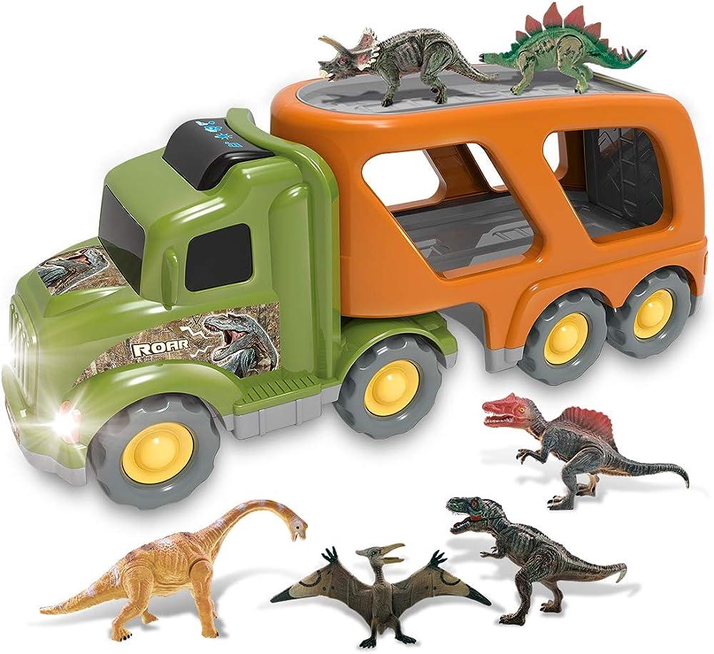 Camion trasportatore jurassic world, con 6 mini dinosauri per bambini,rimorchio per auto alimentato ad attrito DT-49