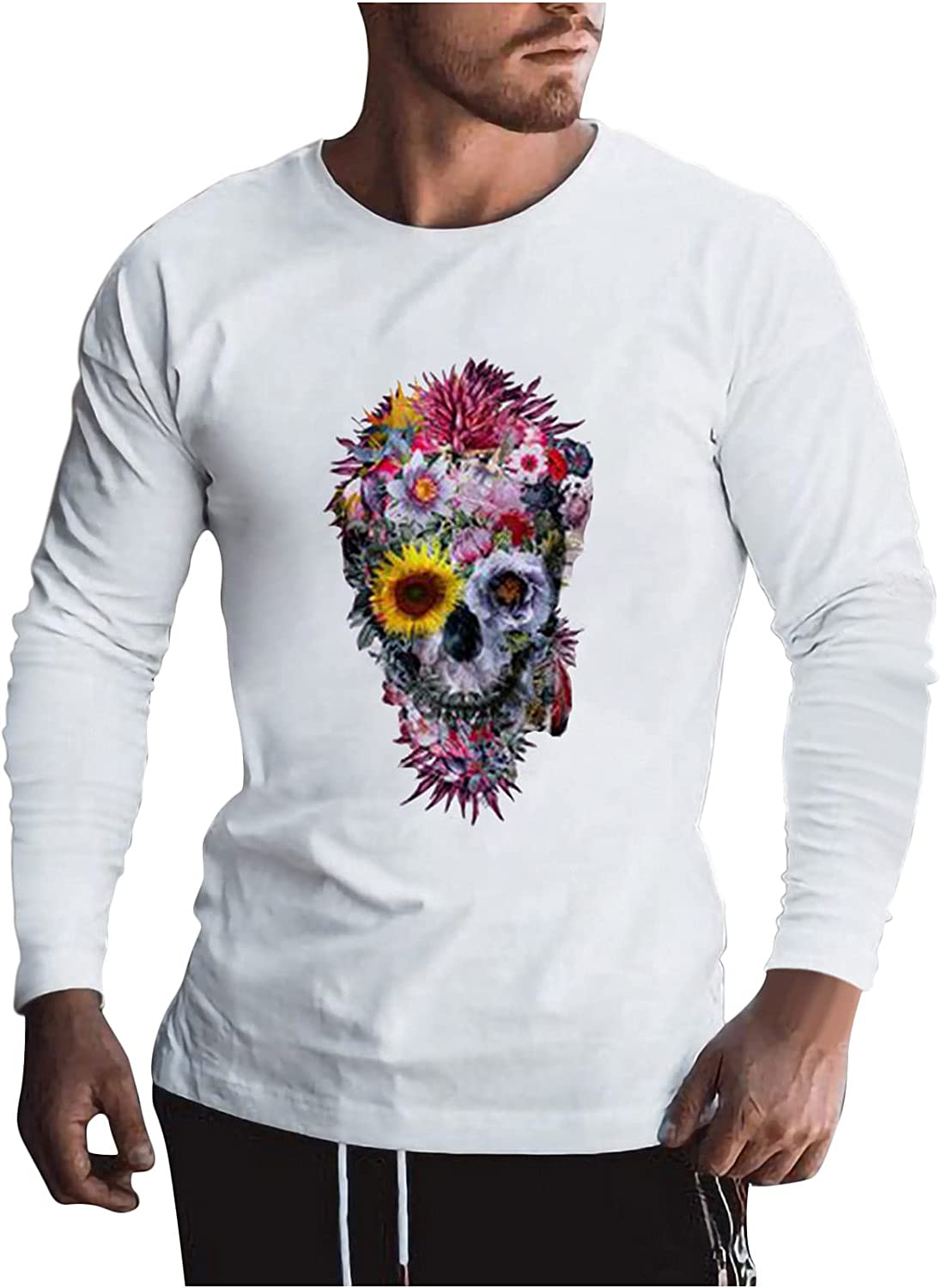 Fashion Men White Shirts, Halloween Skull Printed Long Sleeve Pullover Tops Fall Casual Breathable Bottoming
