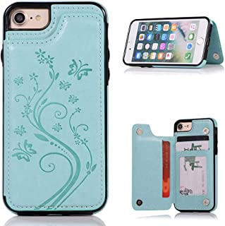 HXAYR iPhone 8/7 Case with Card Holder, [Embossed Butterfly] Shockproof Premium PU Leather Wallet Case [Kickstand] Folio Flip Defender Shell Magnetic Protective Case Cover for iPhone 7/8, Mint Green