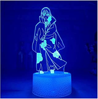 3D Illusie Nachtlampje USB, Nieuwe 3D Nachtlampje Itachi Uchiha Figuur LED Nachtlampje Kleurrijke voor Decoratie Acryl Ill...