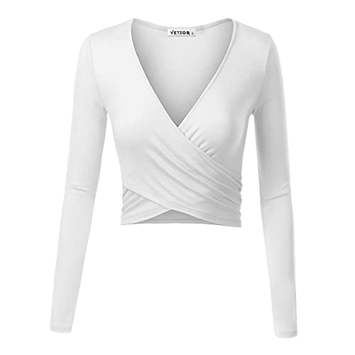 4511adf65b2 VETIOR Women's Deep V Neck Long Sleeve Unique Slim Fit Coss Wrap Shirts  Crop Tops