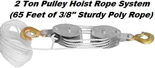 Katzco Poly Rope Pulley Block and Tackle Hoist with Safety Snap Hook - Heavy Duty 65 Foot Long Wheel and Axle Lift for Easy Lifting - up to 4000 LB Capacity Great for Construction Work, and Moving