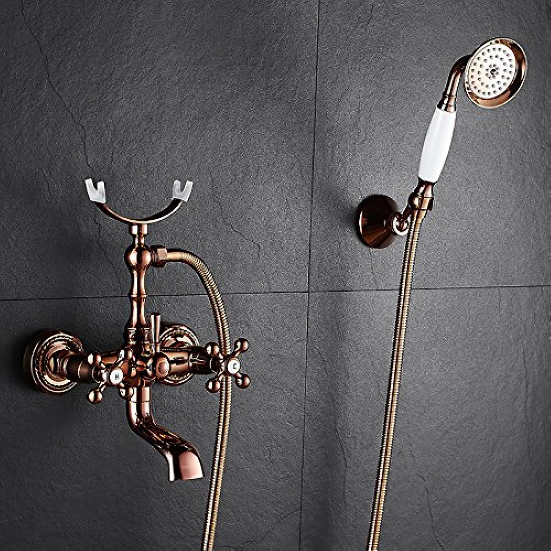 Sunsui pink gold Bath Faucet Wooden Bath Faucet shower set brass into the wall queen sleeper Bath Faucet, pink gold classic Mak Sui) + bracket