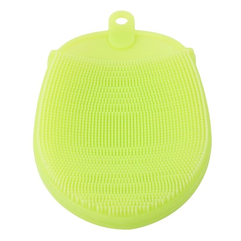 広範囲外向き容量LJSLYJ 抗菌 シリコーン バスブラシ フェイシャルスクラバー マッサージブラシ 断熱手袋 クリーニングブラシ,グリーン