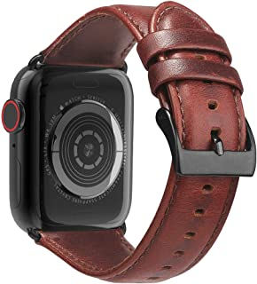 BRG Leather Bands Compatible with Apple Watch Band 44mm 42mm 40mm 38mm, Men Women Replacement Genuine Leather Strap for iW...