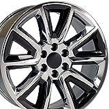 OE Wheels LLC 22 Inch Fits Chevy Silverado Tahoe GMC Sierra Yukon Cadillac Escalade CV73B Chrome w/Gloss Black 22x9 Rim Hollander 5696