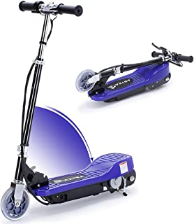 Overwhelming Upgrade E100 Adjustable Handlebar Height Folding Electric Scooter for Kids, 160LBS Max Weight Capacity No Kick to Start Motorized Scooters, up to 10mph -Dark Blue