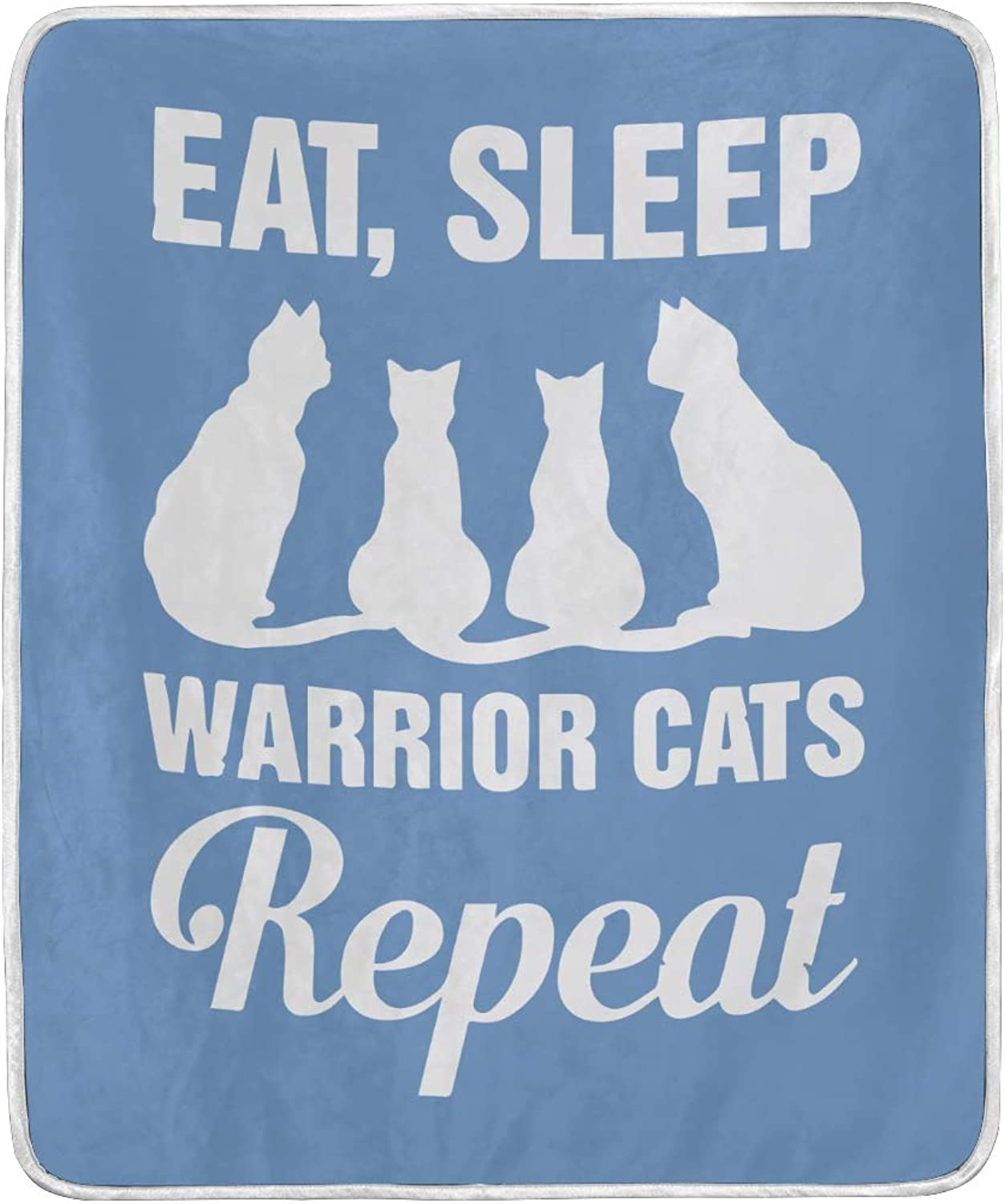 VIMMUCIR Home Decor Eat Sleep Warrior Cats Repeat Blanket Soft Warm Throw Blankets for Bed Sofa Lightweight Travelling Camping 50 x 60 Inch for Kids Adults
