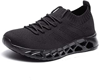 XUJW-Shoes, Mens Summer Perforated Sneakers for Men Running Shoes Lace Up Breathable Knit Mesh Fabric Lightweight Antislip Outsole Durable Comfortable (Color : Black, Size : 8.5 UK)