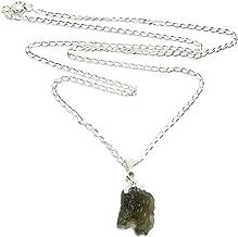 Satin Crystals Moldavite Necklace Space Nugget Genuine High Vibration Meteorite Green Stone Sterling Silver Raw Gemstone B07 (30