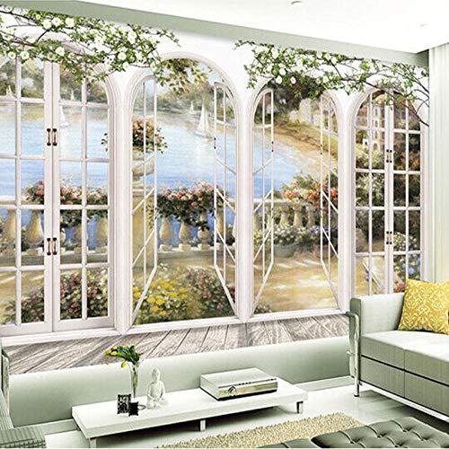 WJZHF Benutzerdefinierte 3D Stereo Fensteransichten Garten Pool Fototapete Wohnzimmer Bettwäsche Zimmer Landschaft Wanddekor Papiertapete-140x200cm, For family schlafzimmer kinder gror wandbild