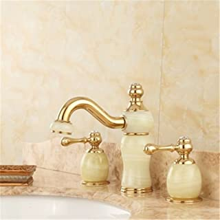 Gyps Faucet Basin Mixer Tap Waterfall Faucet Bathroom Mixer Bar Mixer Shower Tap The jewel of the whole copper three holes and cold water taps split Marble Bathroom Cabinet basin rose gold faucet B