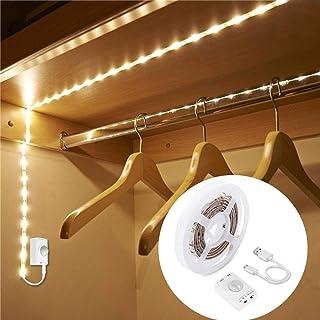 LUXJET® Recargable 30LED 1M tira luz cuerdaLuz Armario Luz LED Nocturna con Sensor de Movimiento para Pasillo Baño Armari...