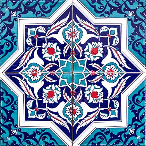 Cerames Mehtap - Coloridos azulejos turcos, 1 paquete - 0.48m2 (12 piezas), baldosas cerámicas Iznik con patrón, 20x20, ideal para la cocina o el baño.