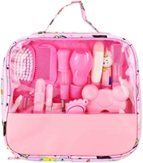 Baby Nail Care Kit, 13PCS Essential Baby Healthcare and Grooming Kit Set Nail Care Cleaning Set Nursery Essentials Set for Infants Newborns Kids Boys and Girls(Pink)