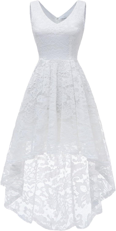 MUADRESS Women's Sleeveless Hi-Lo Lace Formal Dress Cocktail Party Dress V Neck