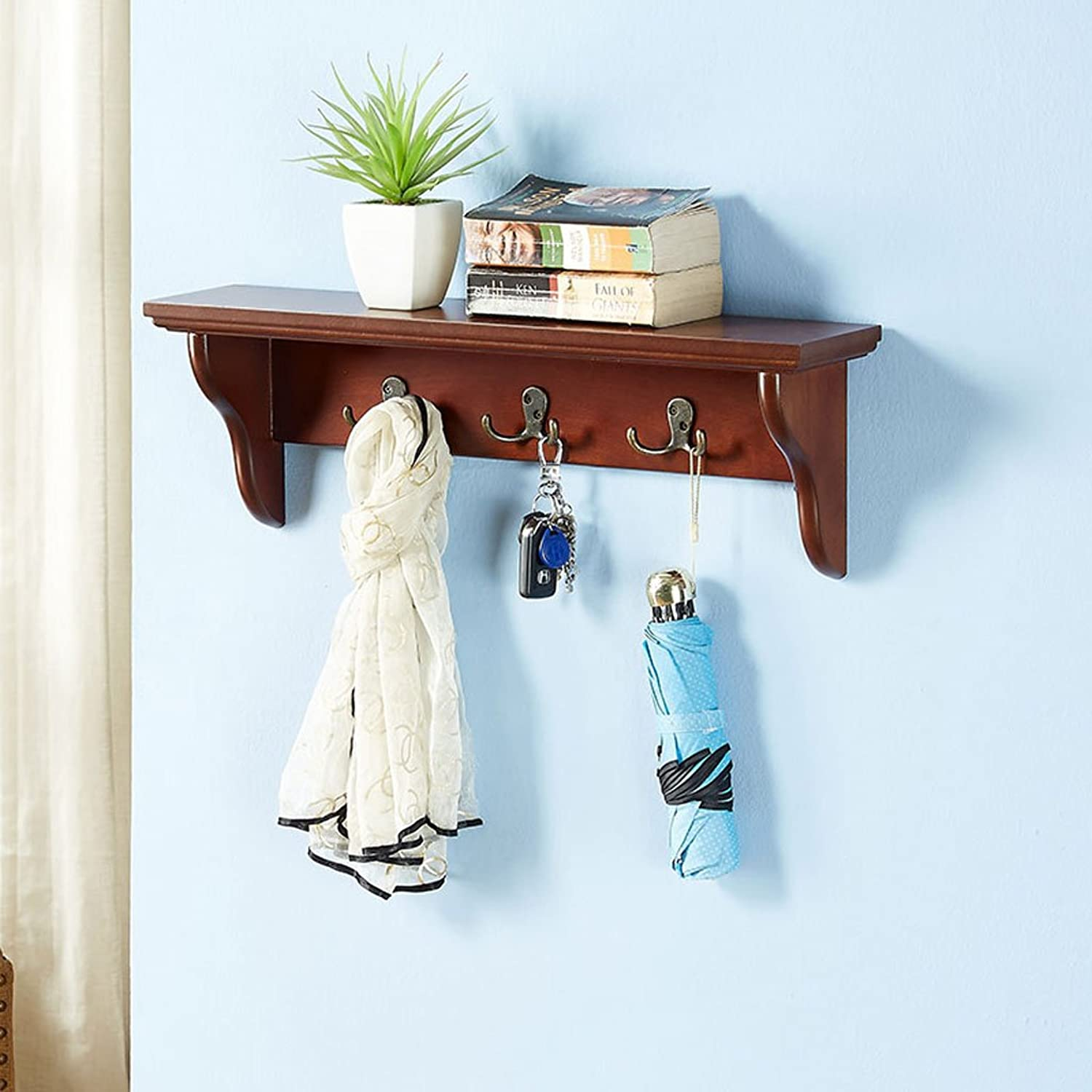 LIAN Wall Mounted Shelf Solid Wood Retro Style Floating Wall Shelf with Coat Rack 23.6  5.1 inch (color   B)