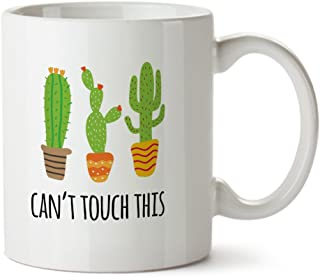 Can't Touch This Cactus Funny Contemporary Design White Coffee Mug - Ceramic - Tea Cup - 11 oz - Great Gift