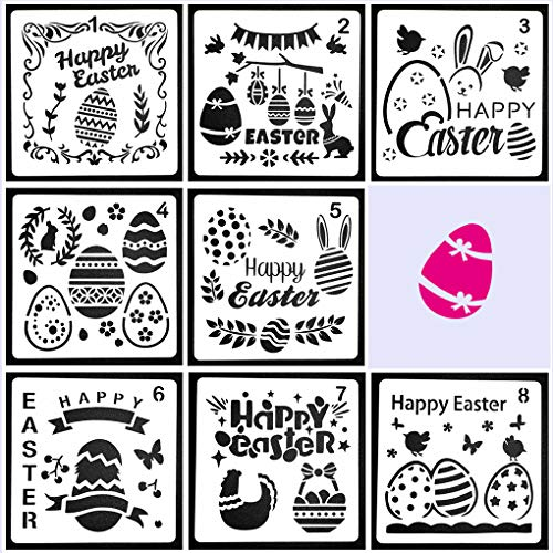 Rolin Roly 8 Stück Ostern Schablonen Malerei Zseichenschablonen Wiederverwendbar Painting Stencils Wandschablonen für Kekse Cupcake Osterdeko