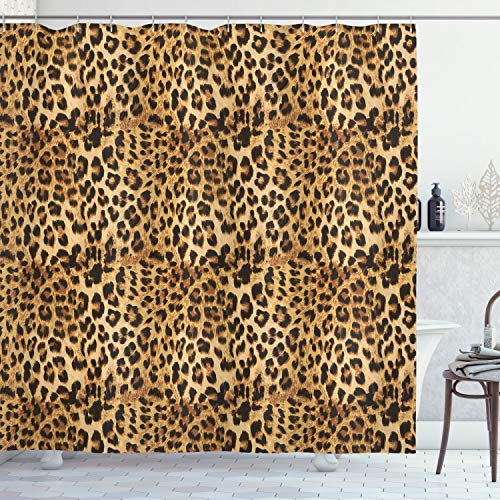 ABAKUHAUS Braun Duschvorhang, Afrikanischer Leopard Druck, Waschbar & Leicht zu pflegen mit 12 Haken Hochwertiger Druck Farbfest Langhaltig, 175 x 200 cm, Braun
