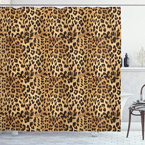 ABAKUHAUS Braun Duschvorhang, Afrikanischer Leopard Druck, Waschbar und Pflegeleicht mit 12 Haken Hochwertiger Druck Farbfest Langhaltig, 175 x 220 cm, Braun