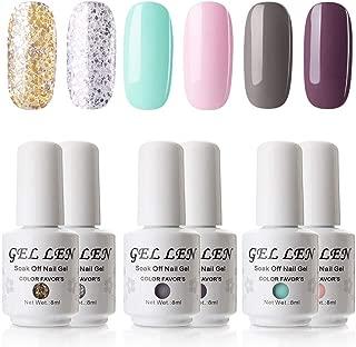 Gellen Pure Glitters Gel Colors Nail Polish - 6 Colors Nail Art Gel Polish Manicure Pedicure Kit, Gorgeous Sensation