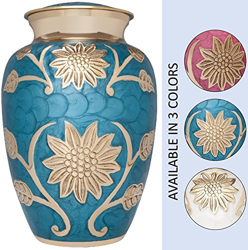 White and Gold Flower Funeral Urn by Liliane Memorials