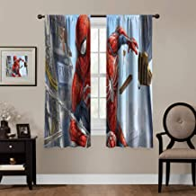 41-42 Inches Wide x 15 Inches Long The Amazing Spider-Man Curtain Superhero in the City Curtain Black and White Superhero Curtain Graphic Spider-Man Curtain