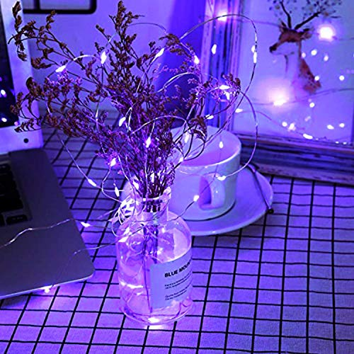 JMEXSUSS Purple Halloween String Lights, Solar String Lights Outdoor Waterproof, 2 Pack 32.8ft 100 LED Solar Fairy Lights, 8 Modes Solar Powered Copper Wire Fairy Lights for Halloween Decorations