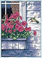 刺繡スターターキット刻印クロスステッチキット初心者バンガローバルコニー花と鳥のバッグDIY11CT刺繡簡単面白いプレプリントパターン16x20インチ