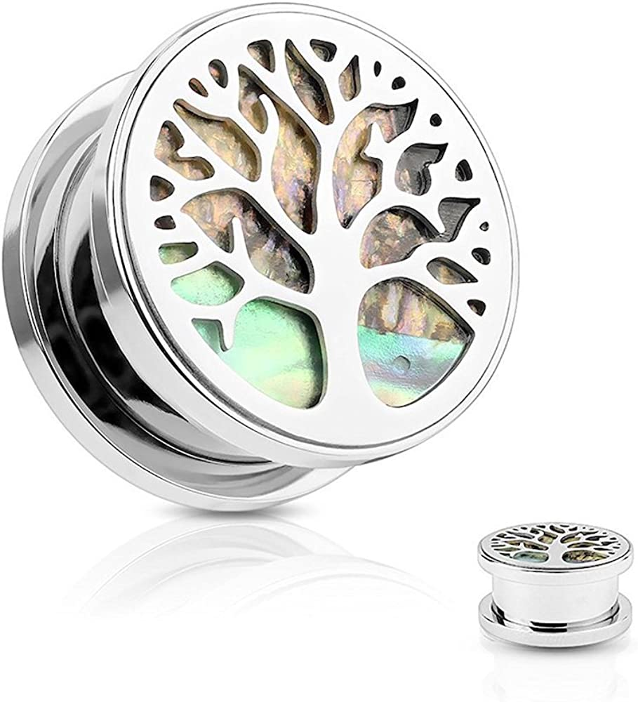 Covet Jewelry Abalone Inlaid Under Life Tree Top 316L Surgical Steel Screw Fit Flesh Tunnel Plugs