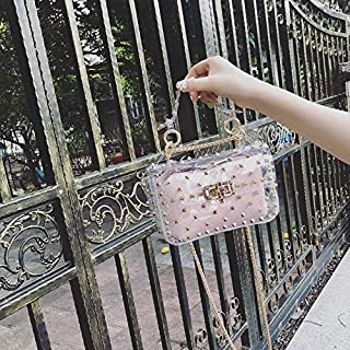 Adebie - Fashion Rivet Chain 2019 New Small Women's Tote Bag Clear Shoulder Bags Female Handbag Beach Transparent Jelly Crossbody Bag Pink []