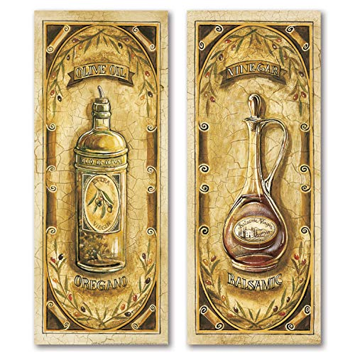 Vintage Italian Olive Oil and Balsamic Vinegar; Kitchen Decor; Two 6x18 Poster Prints