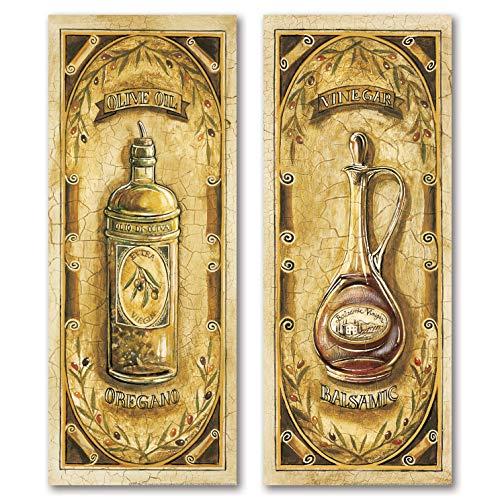 Vintage Italian Olive Oil and Balsamic Vinegar; Kitchen Decor; Two 6x18 Poster Prints