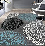 Rugshop Contemporary Modern Floral Area Rug 6'6' x 9' Gray