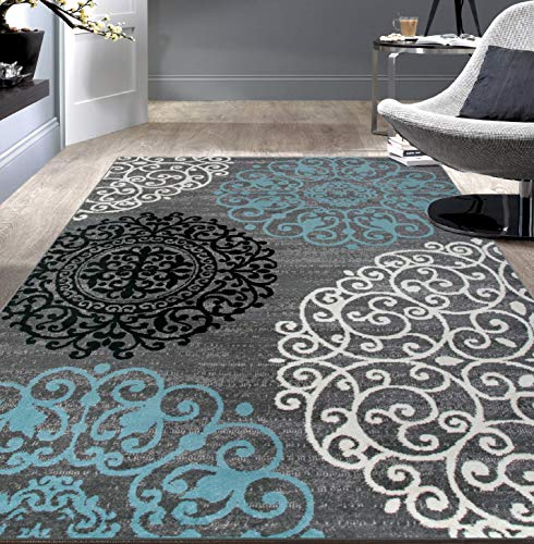 "Contemporary Modern Floral Indoor Soft Area Rug 5'3"" x 7'3"" Gray"
